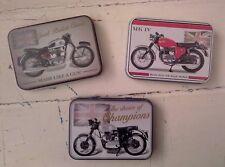 Set Of 3 Classic British Motorbike Keepsake Trinket/Tobacco/Sweet Tins