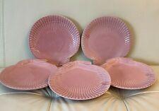 Vintage Bordallo Pinheiro Portugal Pink Scallop Seashell Salad Plates Set of 5