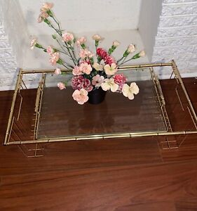 Vintage MCM Brass Faux Bamboo and Glass Bed Tray Table. Mid Century Bed Tray