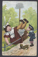 1905 DO NOT ENTER AS GIRL FLLS OVER RAILING, NEW YORK NY