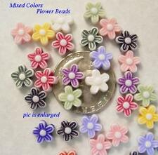 100 Assorted Acrylic Flower Beads 9MM