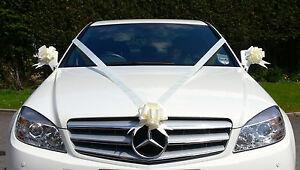 IVORY Wedding Car Decoration Kit Large Bows & 7 Metres of Ribbon FAST & FREEPOST