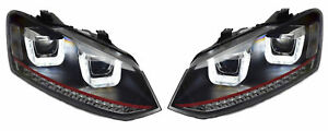 Lhd For VW Polo 6R Black DRL LED Projector Headlights Dynamic Indicator R-line