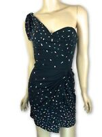 ISSA London New Sz 6 One Shoulder Dress Black w/ Multi-Color Design Silk Jersey
