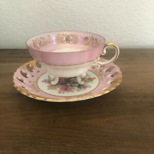 VINTAGE  ROYAL SEALY CHINA JAPAN TEA CUP AND SAUCER Pink Floral Gold