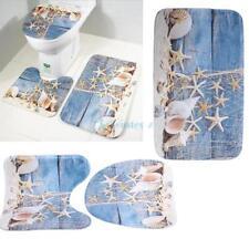 3x Beach Conch Bathroom Lid Toilet Seat Cover Pedestal Rug Bath Mat Carpet Set