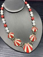 Vintage Ladies Red White Lucite Enameled Beaded Jewelry Necklace 18""