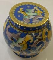 Vintage Cloisonné Ginger spice Jar Small vase Flowers & Birds Design Gold/blue