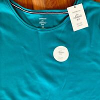 Croft & Barrow Knit Top NWT Womens PLUS Short Sleeve Teal Blue Classic Tee