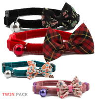 Cat Collar Vintage Bow Safety Buckle & Warning Bell Kitten Ancol - Choose Design