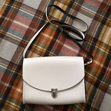 $155 White Leather Cambridge Satchel Company Large Push Lock Crossbody Bag - NWT