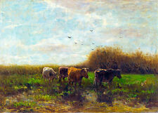Cows at Evening by Willem Maris A1 High Quality Canvas Print