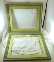 "Vintage 1930's Pair of Wooden Striped Picture Frames 12.5"" X 15"" With Glass"