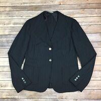 $1265 Max Mara Women's 16 Navy Blue Wool Blend Pinstriped 2 button Blazer Jacket