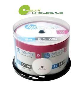 50 HP 8X Blank DVD+R DL Dual Double Layer 8.5GB White Inkjet Hub Printable Disc