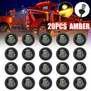 """20x Smoked Amber 3/4"""" Bullet Round LED Side Marker Lights for Trailer Truck RV"""