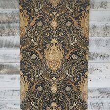 York Waverly Classic Byzance Paisley Damask Black Brown Gold Medallion Wallpaper