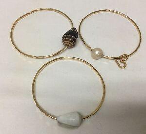 4 Gold Filled Bangle Bracelets Handmade Hawaii Shells Pearl ❤️ Wave Surf Boho