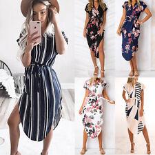 Womens Asymmetric Floral Midi Dress Summer Holiday Party V Plunge Sun Dress