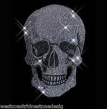 Skull Crystal #3 Rhinestone Iron on Transfer           EM7X