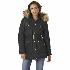 Women's Rocawear Belted Hooded Puffer Coat Black S #NJG2L-G16-7