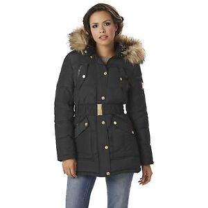 Rocawear Womens Belted Hooded Puffer Coat Black S #NJG2L-G16-7