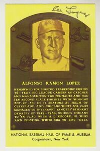 Al Lopez Autographed Yellow Hall of Fame Plaque Card