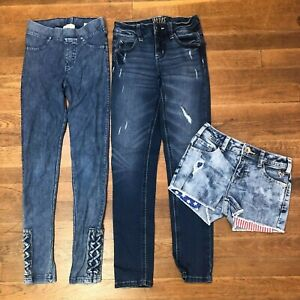 lot of 3 girls 10s slim justice mid rise super skinny jeans shorts h&m jeggings