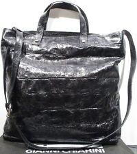 GIANNI CHIARINI Italian Leather BLACK  EMBOSSED Purse Shoulderbag Large