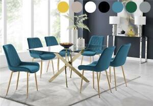 Leonardo Gold Leg Rectangular Glass Dining Table & 6 Modern Chairs