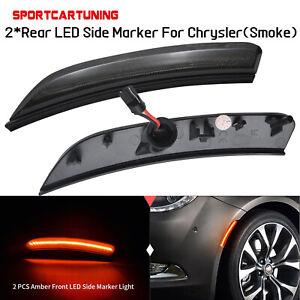 For 2015 2016 2017 Chrysler 200 LED Front Amber Side Marker Lamps Lights Smoked