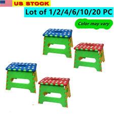 "Lot of 2/4/6/10/20 Plastic 7"" Folding Stool w/ Handle for Bedroom Livingroom"