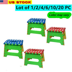 "Lot of 2/4/6/10/20 Plastic 7"" Folding Stool w/ Handle for Bedroom Livingroom"