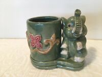 Vintage Green Ceramic Lucky Trunk Up Elephant Planter