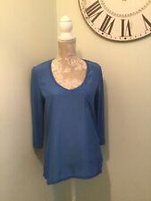 River Ireland Ladies Blue Top Size 10 3/4 Sleeve