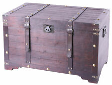 New Vintiquewise Vintage Large Wooden Storage Trunk with Latch, QI003269LN