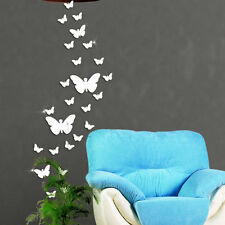 30PCS DIY 3D Mirror Butterfly Wall Sticker Home Living Bathroom Decoration Decor