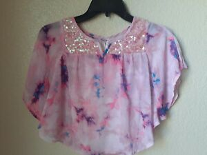 Justice Girls Pink Sequined Sheer Layered Top Size 8