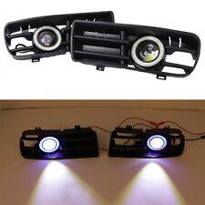 For 98-04 VW GOLF GTI MK4 Blue Angel Eyes Front Grilles LED Running Fog Lights