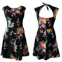 Wet Seal Junior's L Fit and Flare Dress Stretch Cotton Knit Floral Cutout Back