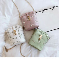 Women Embroidered Shoulder Bag Tote Small Leather Handbag Bucket Bags Crossbody