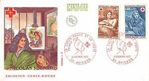 Enveloppe FDC FRANCE NICOLAS MIGNARD ART 1969 AVIGNON Croix Rouge