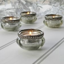 Set of 4 Silver Effect Glass Tea Light Holders Antiqued Vintage Style