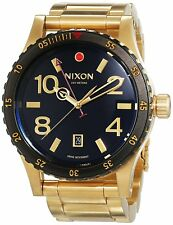 Nixon Men's A277513 Diplomat Gold-Tone Steel Black Dial Watch A277-513-00