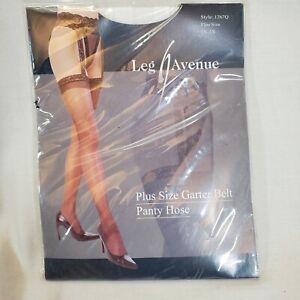 Leg Avenue Sheer Stocking Garter Belt Panty Hose White 1x 3x Halloween Thigh