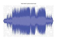 """A3 Music Song Track Sound Wave Print with Lyrics (frame not included) 16.5x11.5"""""""