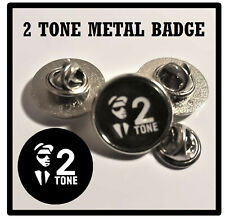 SKA / 2 TONE - ROUND BUTTERFLY PIN BACK SILVER METAL LAPEL BADGE / NEW / GIFTS
