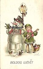 Snowman in a Hat Playing Music on Accordions with a Girl, Funny Old Postcard