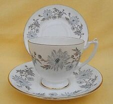 Coalport My Fair Lady vintage china cup saucer & plate trio - grey & blue floral