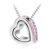 Fashion Women Cute Love Heart Crystal Pendant Clavicle Necklace Fashion Jewelry
